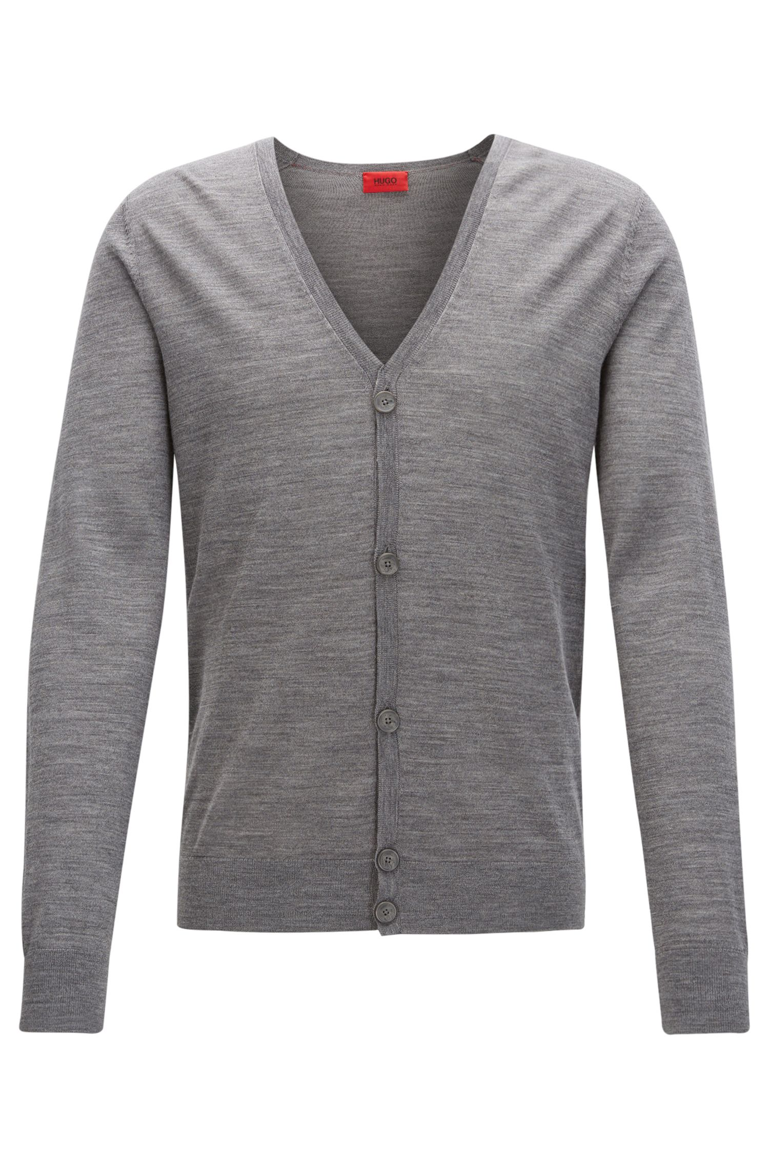 Cardigan slim fit in misto di lana merino