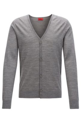 Slim Fit Cardigan aus Schurwoll-Mix, Hellgrau