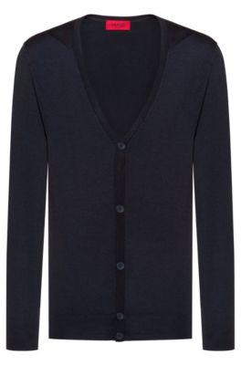 Slim-fit cardigan in a Merino wool blend, Dark Blue