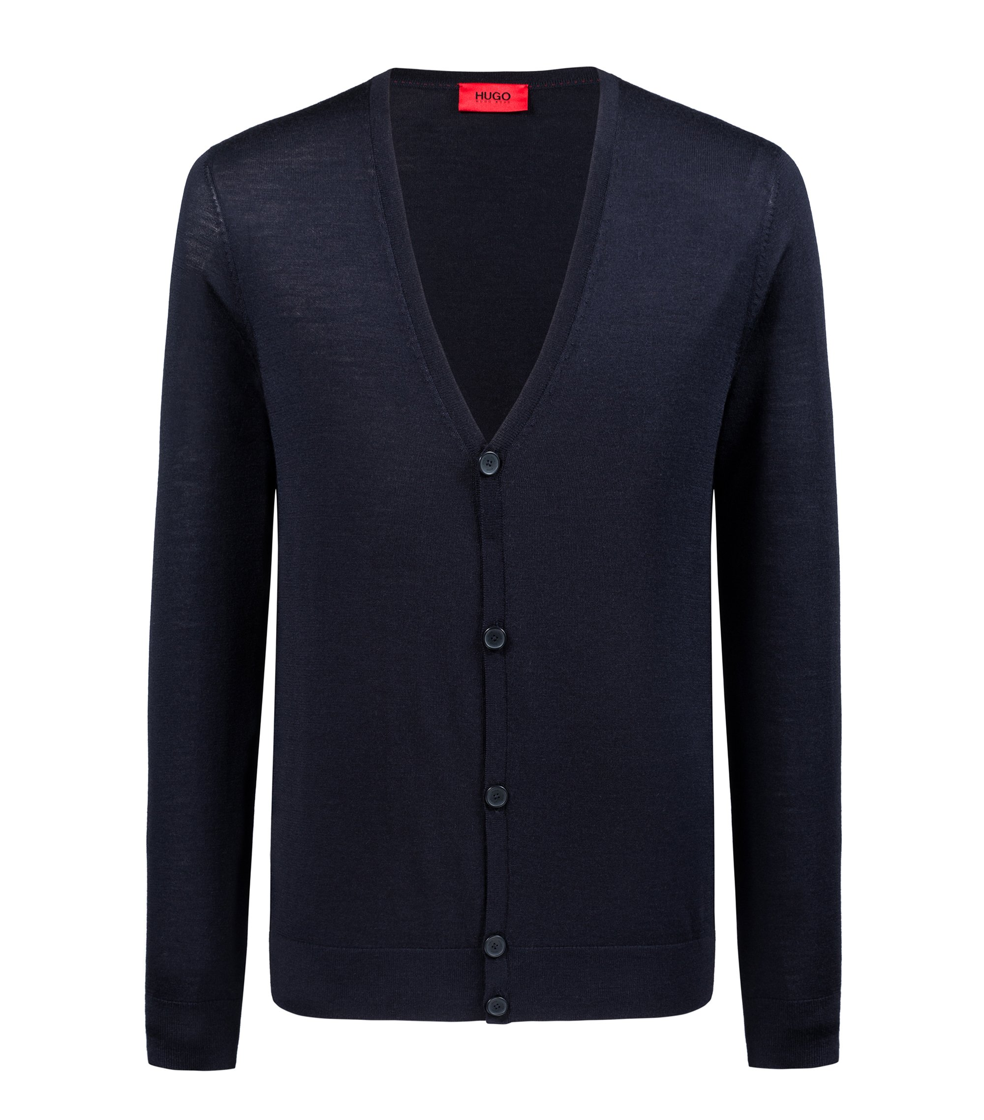 Slim-fit cardigan in a Merino wool blend, Dark Blue