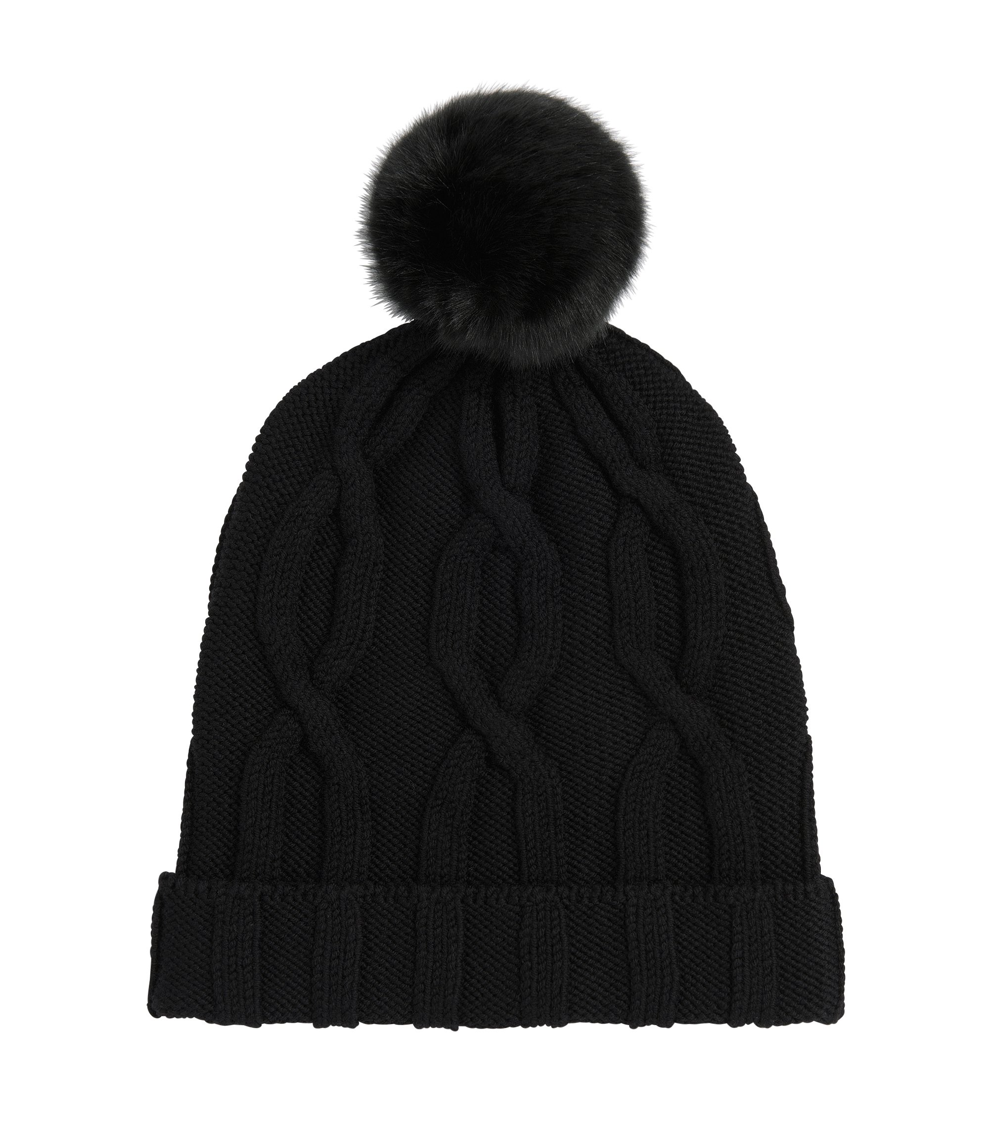 Cable knit virgin wool bobble hat, Black