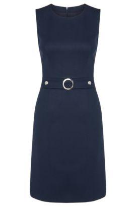 Sheath dress in stretch new wool with metal appliqué: 'Krishne', Open Blue