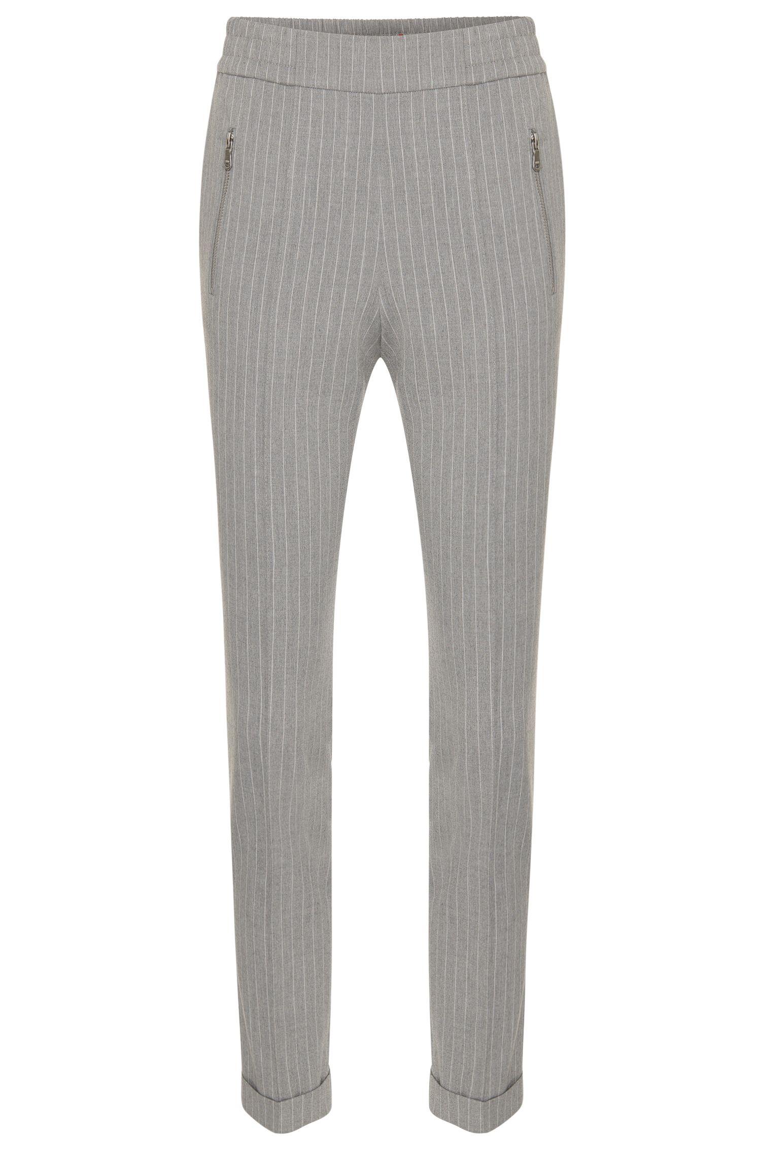 Fijngestreepte broek van een materiaalmix met scheerwol en een elastische band: 'Himoni'