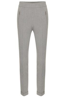 Fijngestreepte broek van een materiaalmix met scheerwol en een elastische band: 'Himoni', Lichtgrijs
