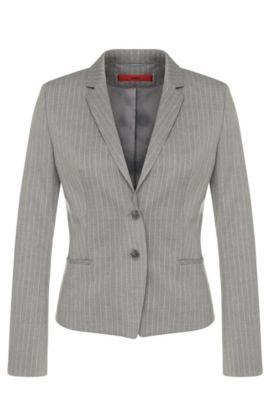 Getailleerde blazer met krijtstreepdessin: 'Afrona', Lichtgrijs