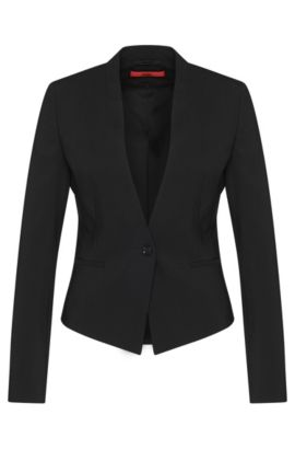 Fitted short blazer in stretch new wool: 'Axelly', Black