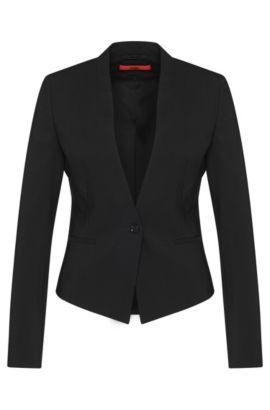 Veste courte cintrée, en laine vierge extensible: «Axelly», Noir