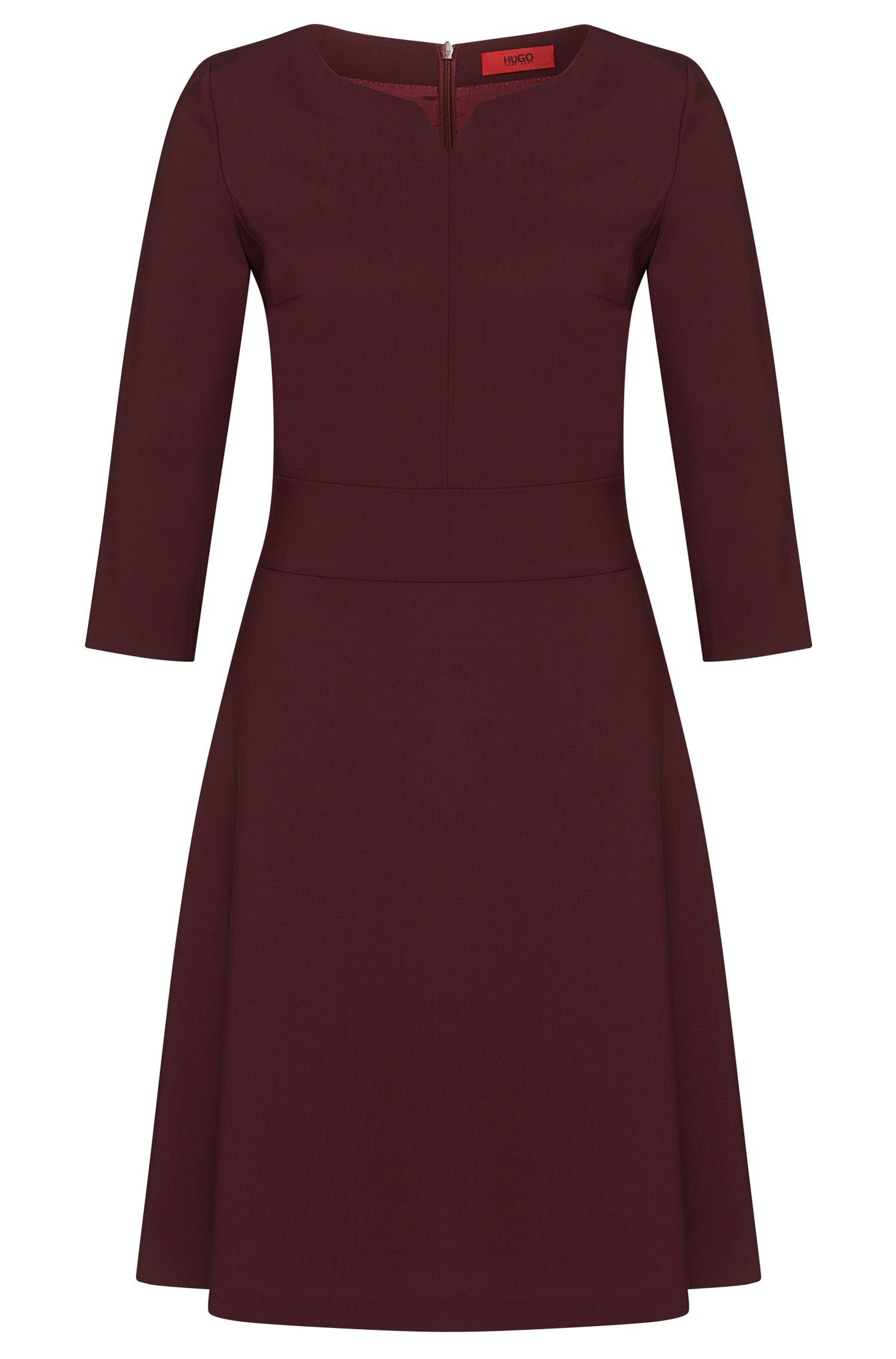 Plain dress in stretch new wool: 'Kebina'