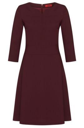 Robe unie en laine vierge stretch: «Kebina», Violet clair