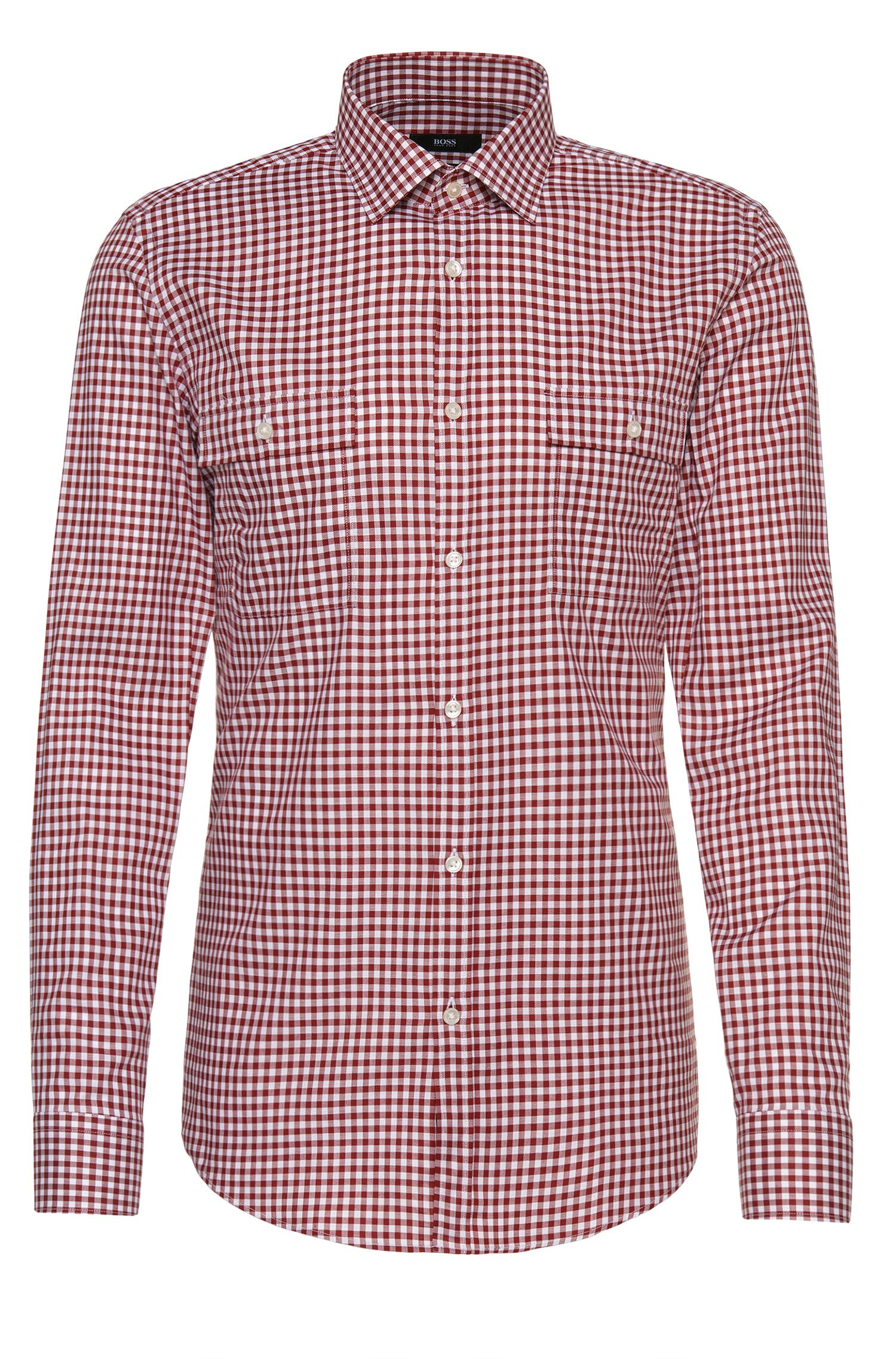 Chemise Slim Fit Wiesn & Wasen en coton à carreaux : « Jesk »