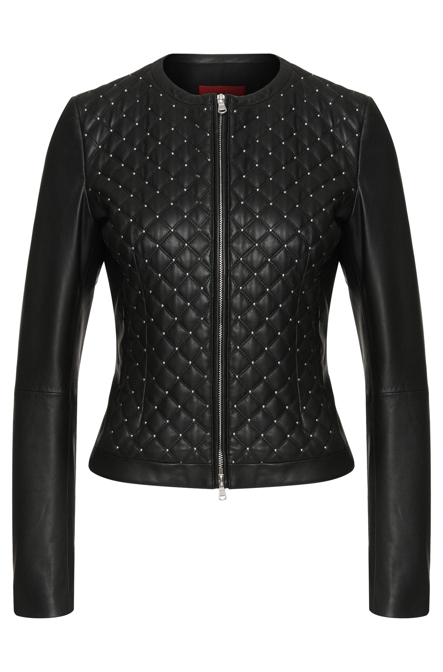Leather jacket with quilted front: 'Lovica'