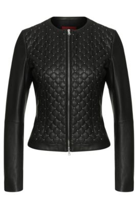 Leather jacket with quilted front: 'Lovica', Black