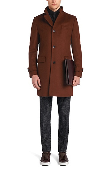 Coat in new-wool blend with cashmere: 'Sintrax1', Brown