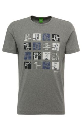 T-shirt imprimé Regular Fit en coton : « Tee 2 », Gris chiné