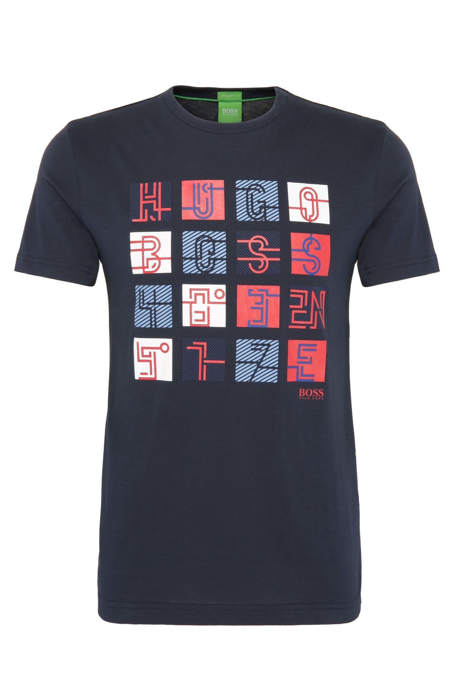 Regular-fit shirt van katoen met print: 'Tee 2'