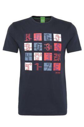 Regular-fit shirt van katoen met print: 'Tee 2', Donkerblauw