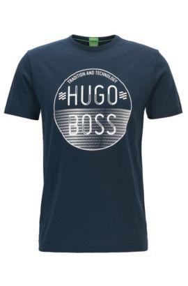 T-shirt logo Regular Fit en jersey de coton, Bleu foncé