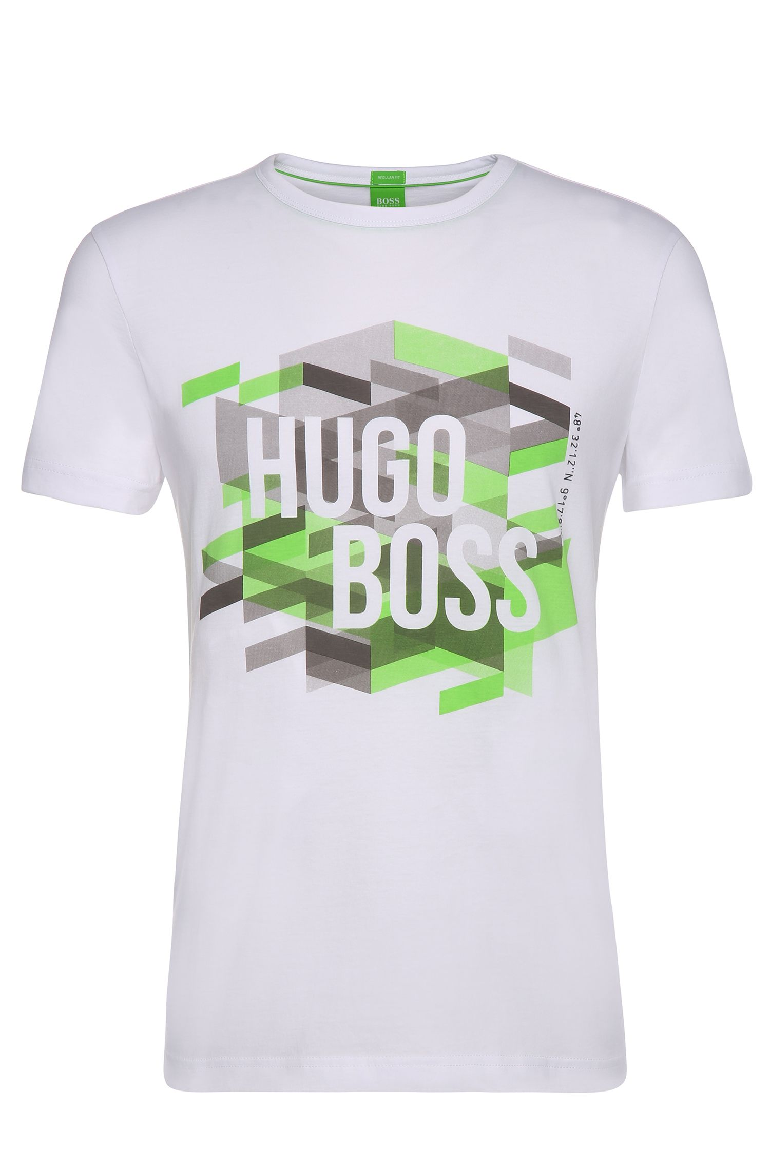 Regular-Fit T-Shirt van katoen met logoprint: 'Teeos'