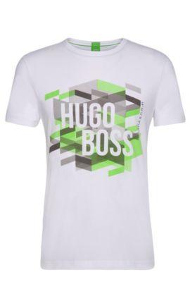 Regular-Fit T-Shirt van katoen met logoprint: 'Teeos', Wit