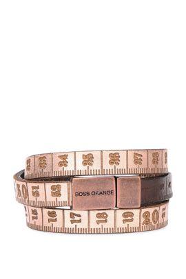 Leather wrap bracelet in measuring tape look: 'Mancy', Brown