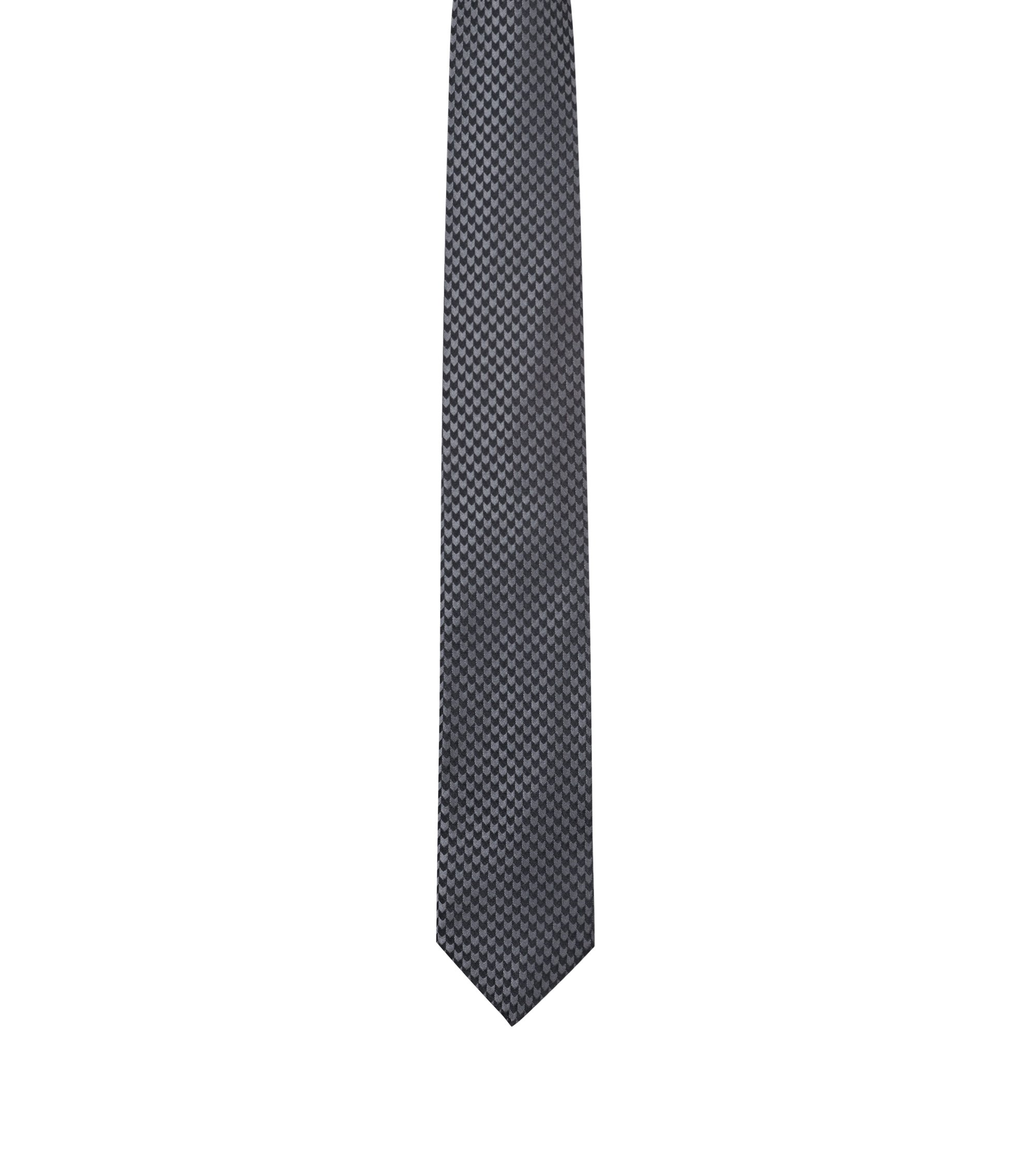 Silk tie in micro-pattern jacquard, Grey
