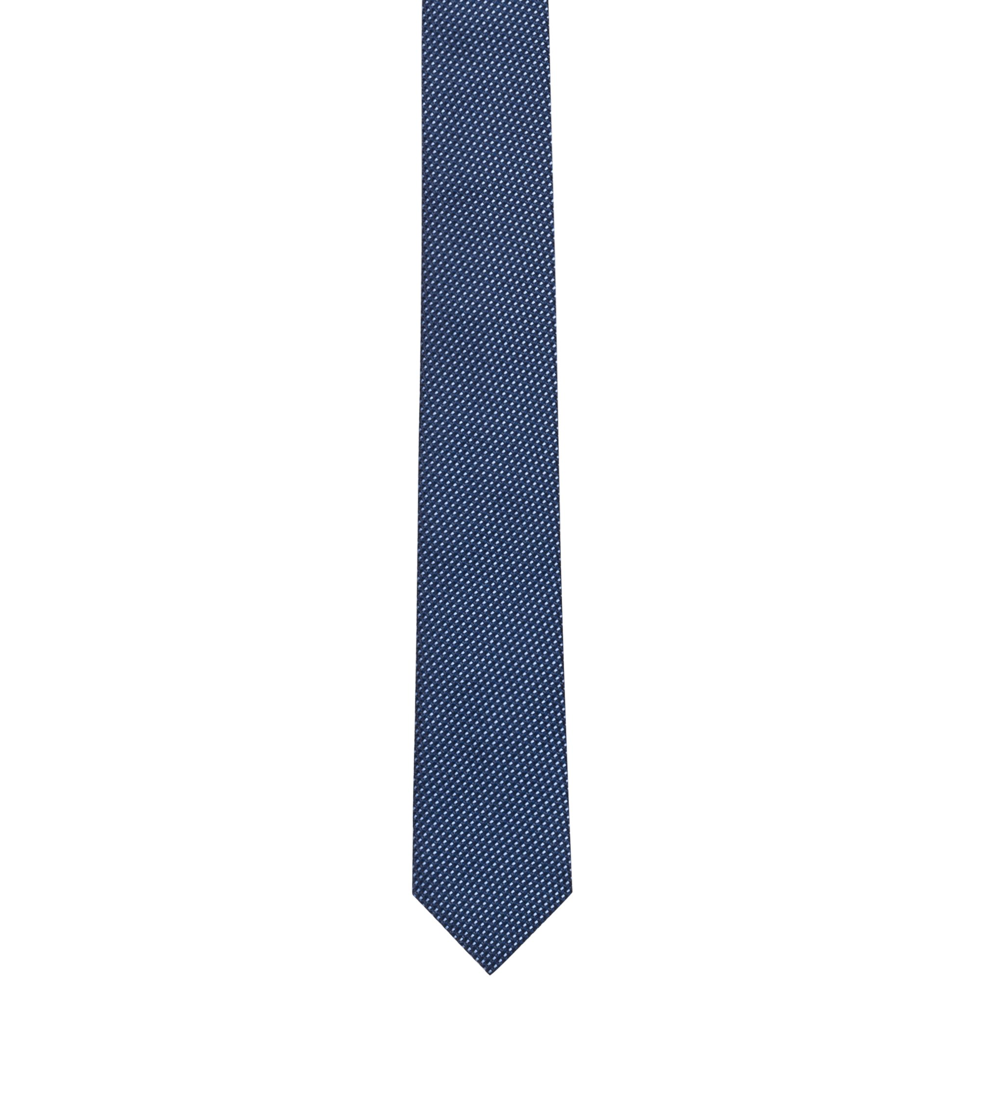 Silk tie with jacquard micro pattern, Dark Blue