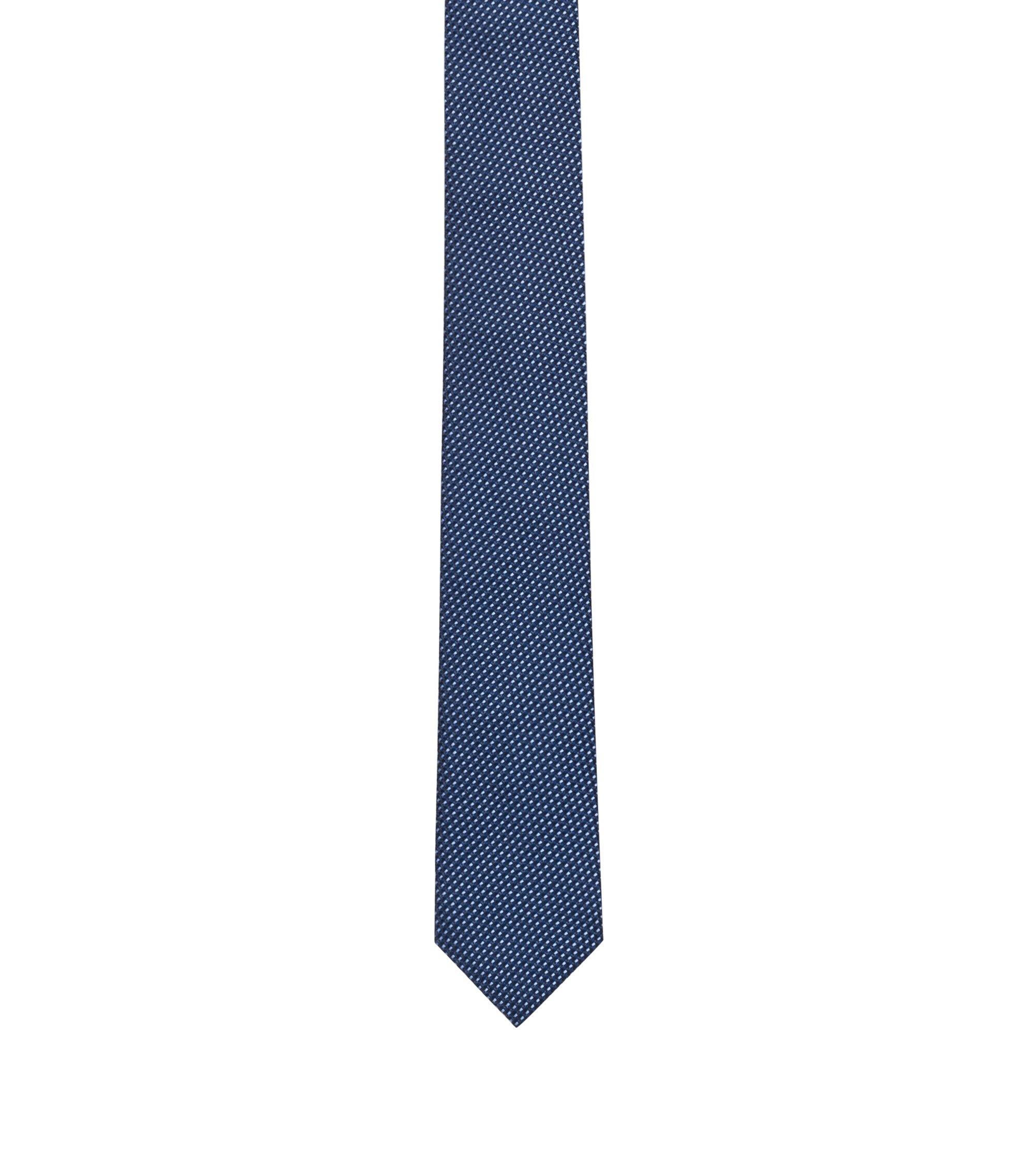 Cravate en jacquard de soie à micromotif, Bleu foncé