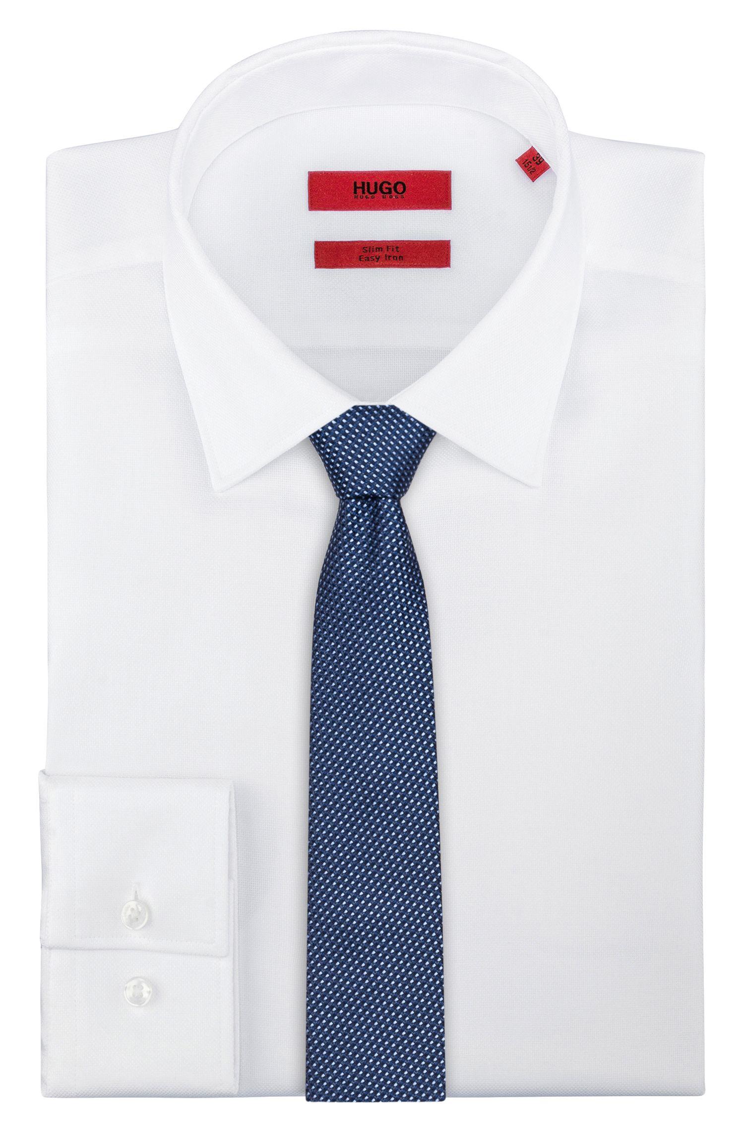 Cravatta in seta con microdisegno jacquard, Blu scuro