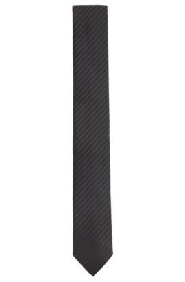 Silk tie with logo embroidery: 'Tie cm 6', Anthracite