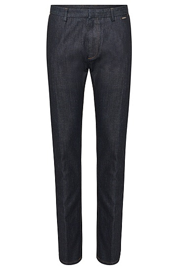 Tapered-fit jeans in cotton blend in chino style: 'Helgo1-W', Dark Blue