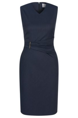 Checked sheath dress in stretch new wool: 'Dakirsa', Dark Blue