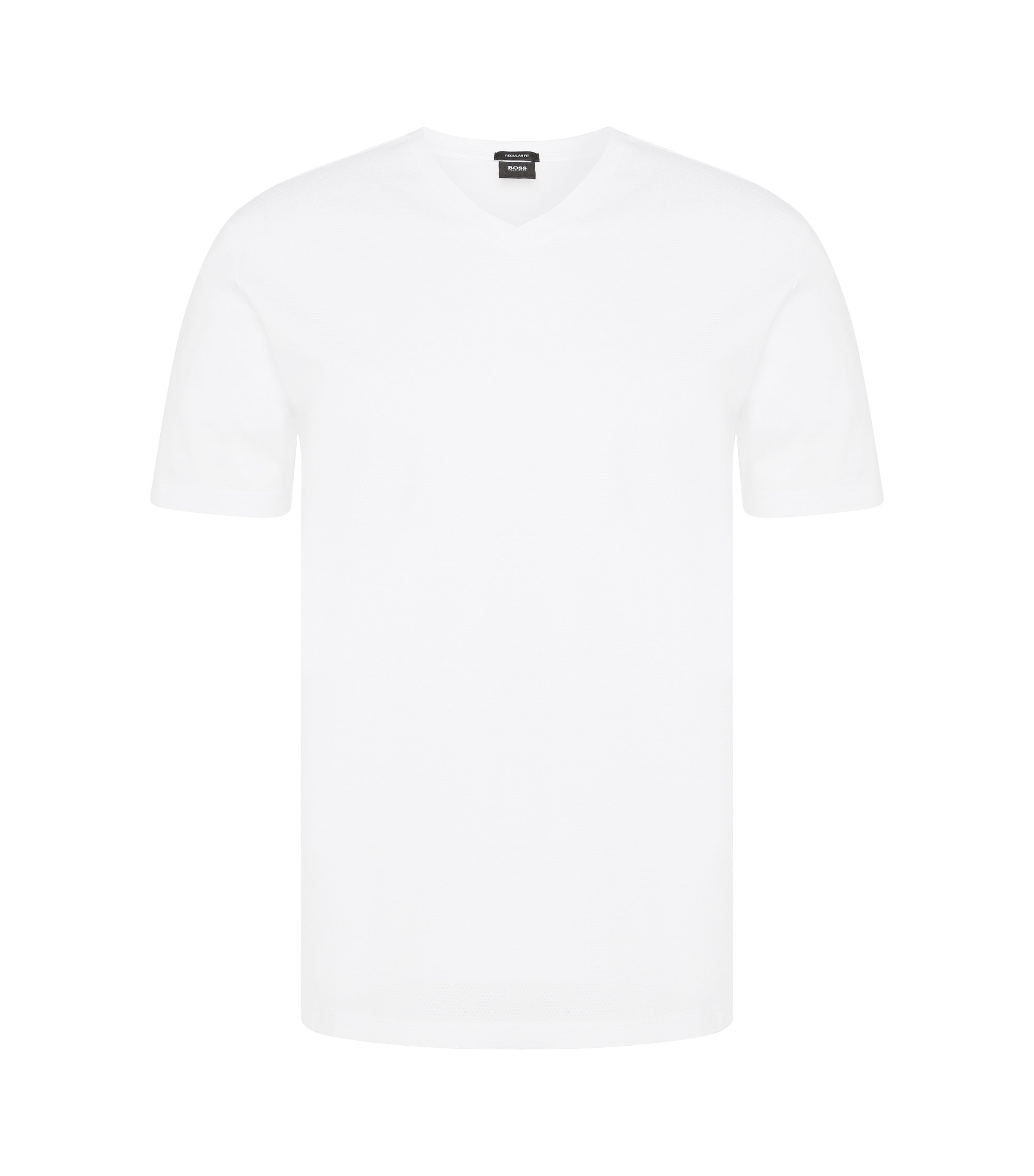 Regular-Fit T-Shirt aus Baumwolle mit perforierter Front: 'Teal 02', Weiß