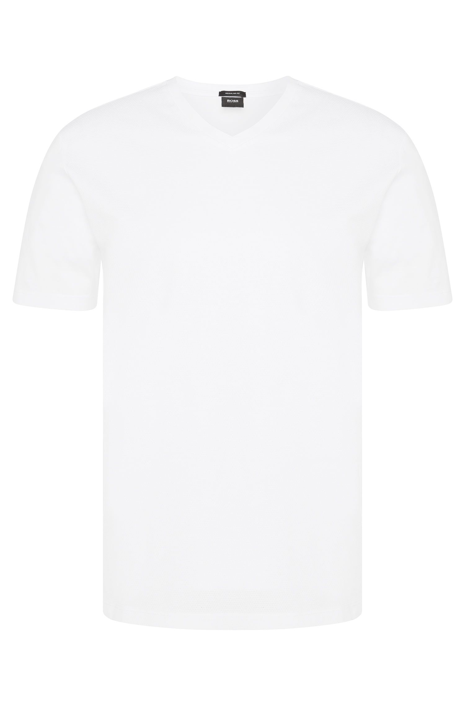 Regular-Fit T-Shirt aus Baumwolle mit perforierter Front: 'Teal 02'