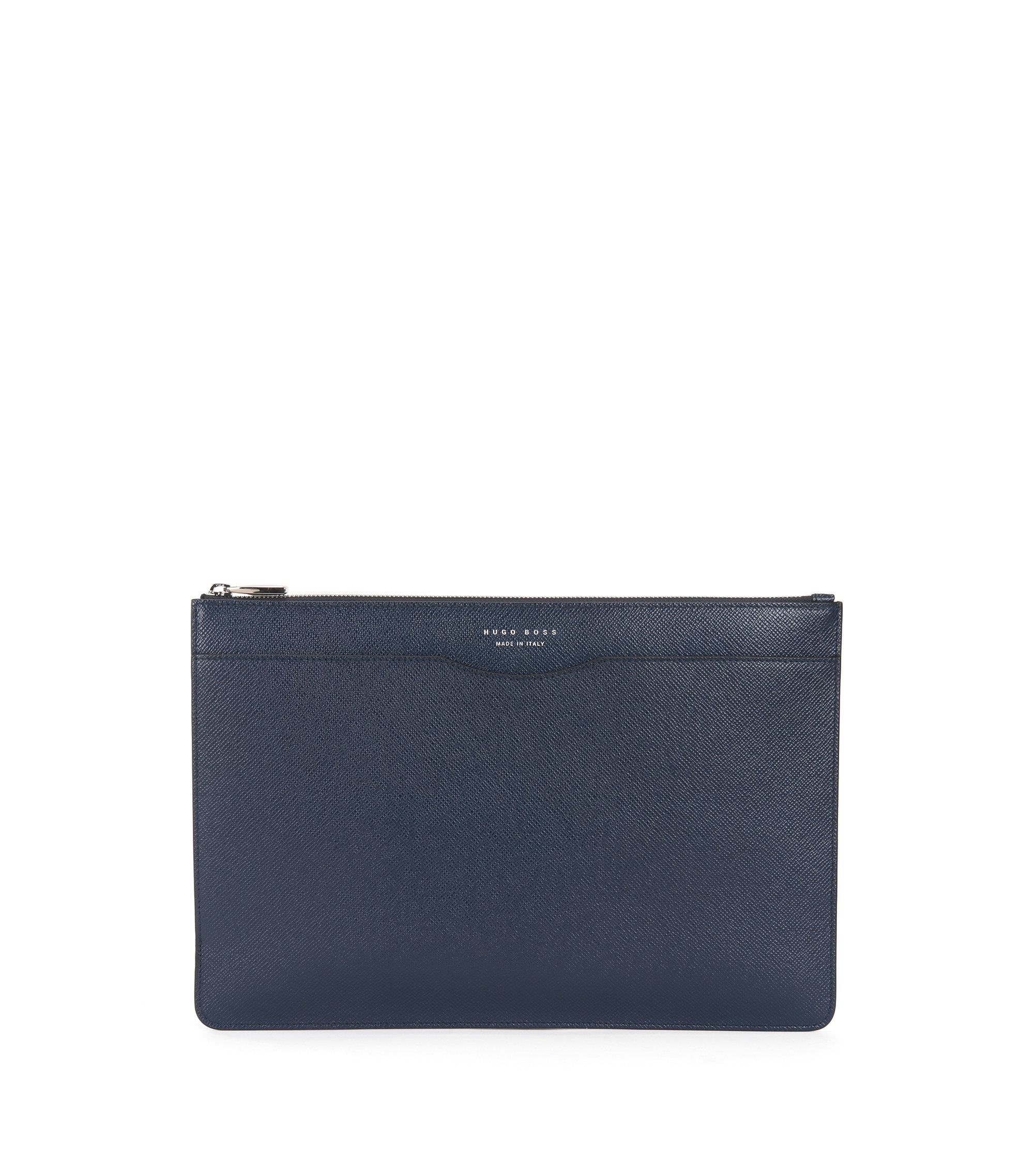 Porte-document Signature Collection en cuir palmellato, Bleu foncé