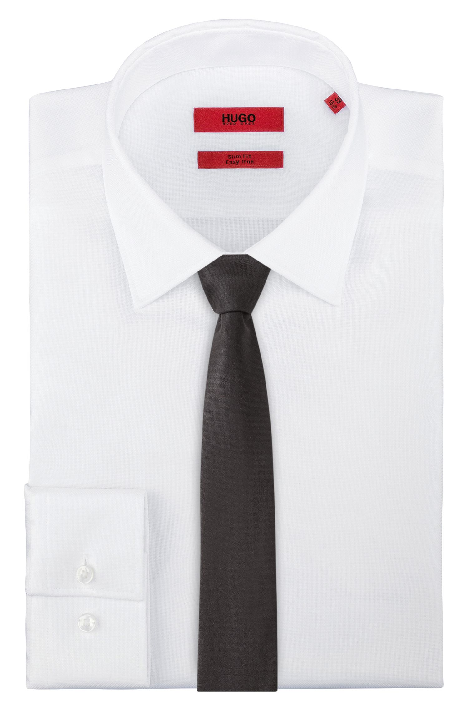 Solid-tone tie in virgin wool, Black