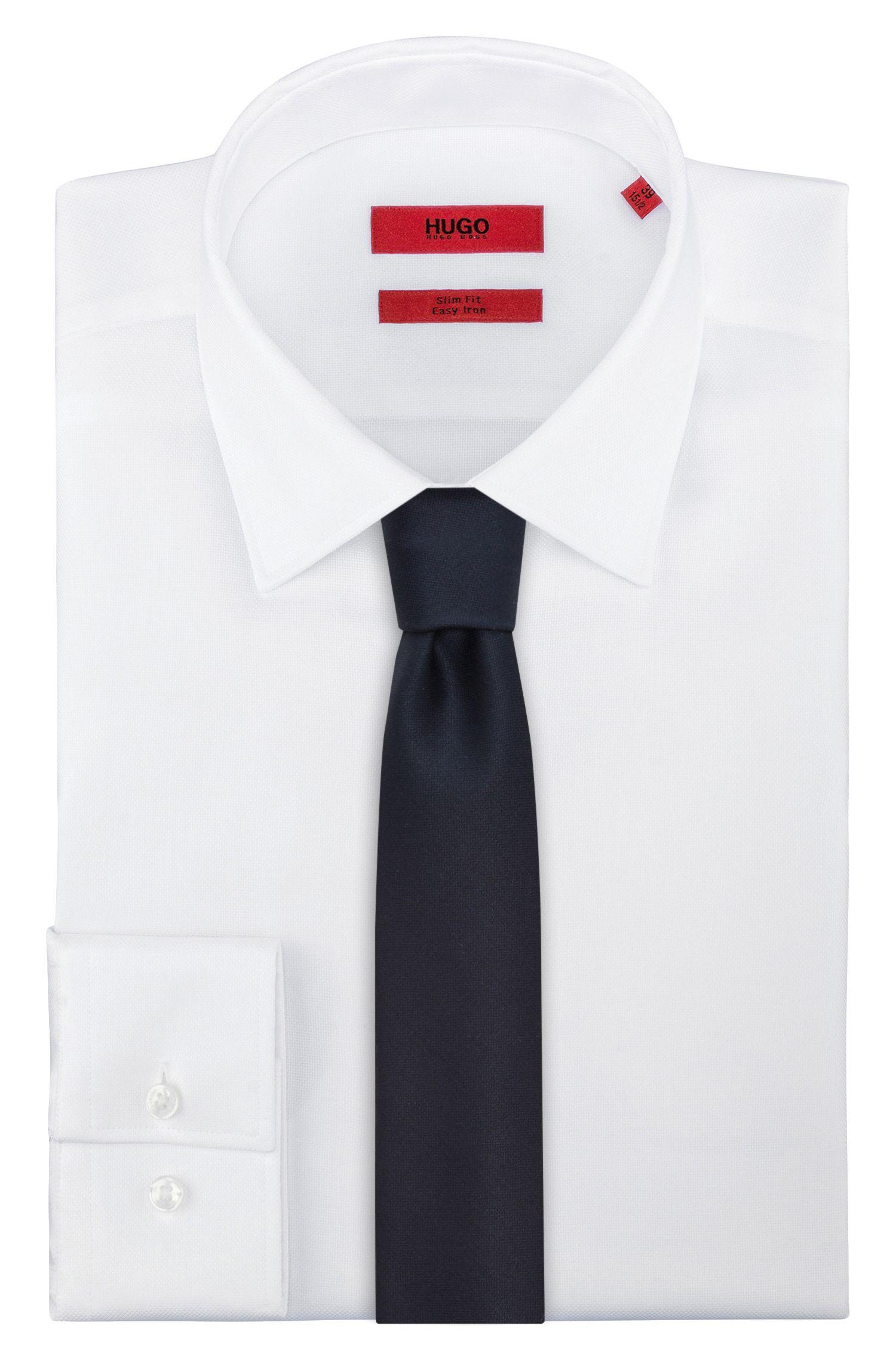 Effen stropdas van scheerwol, Donkerblauw