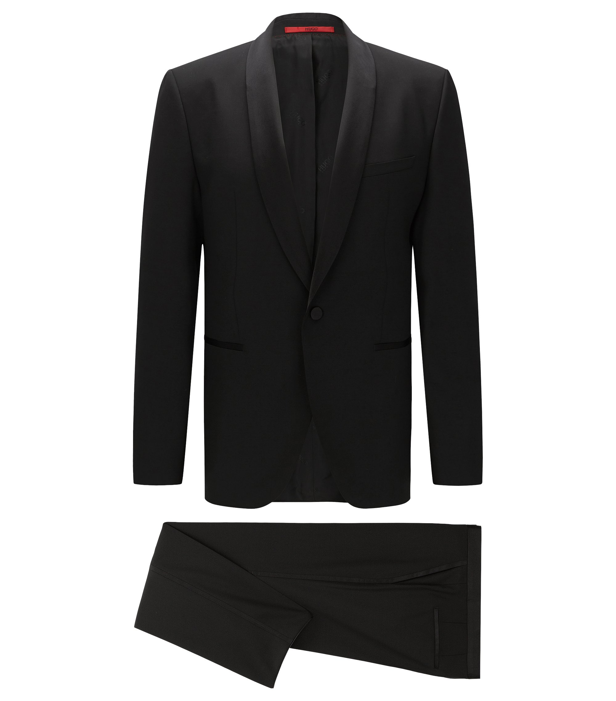 Regular-fit tuxedo in satin-trimmed wool gabardine , Black