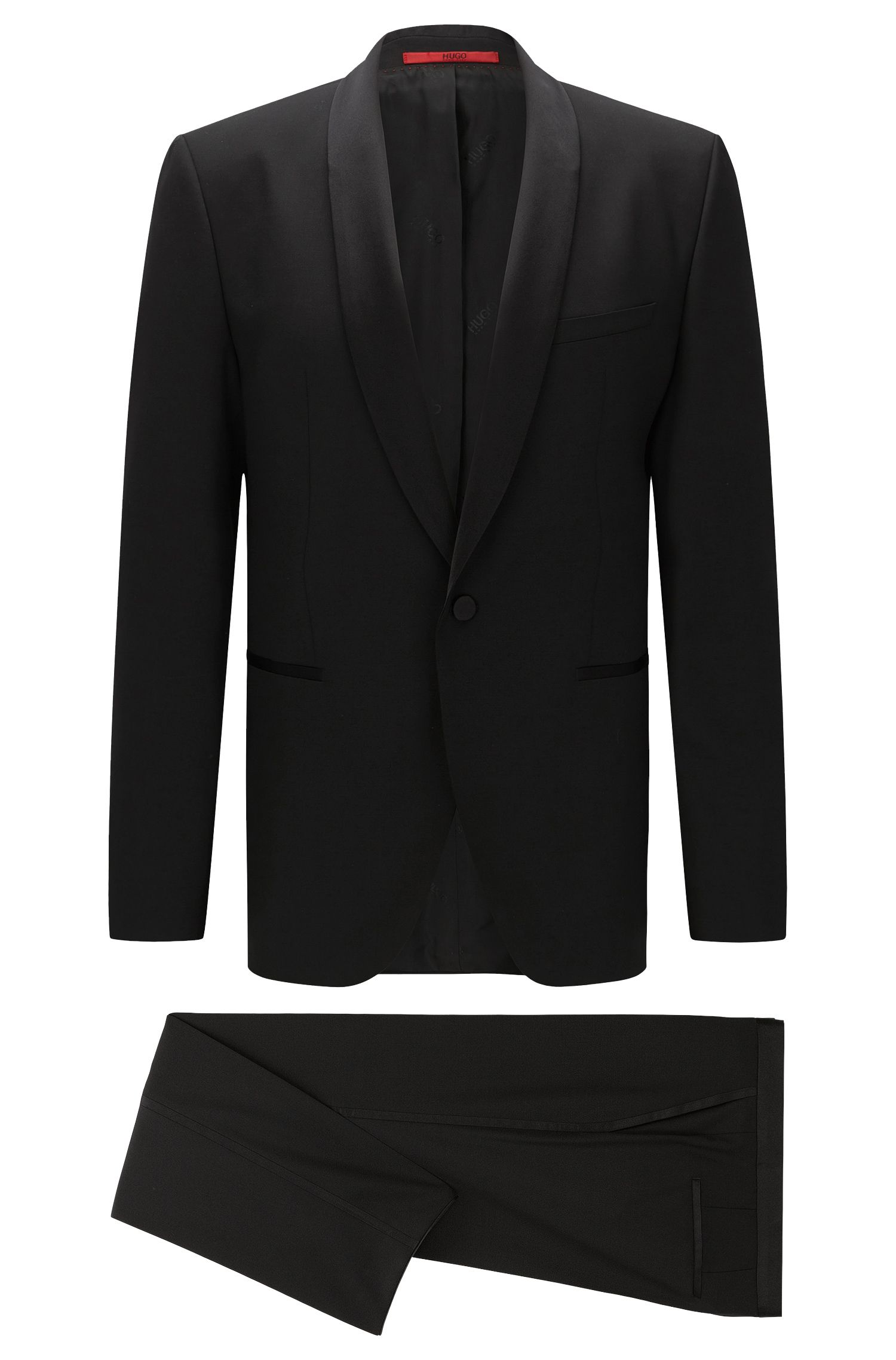 Regular-fit tuxedo in satin-trimmed wool gabardine