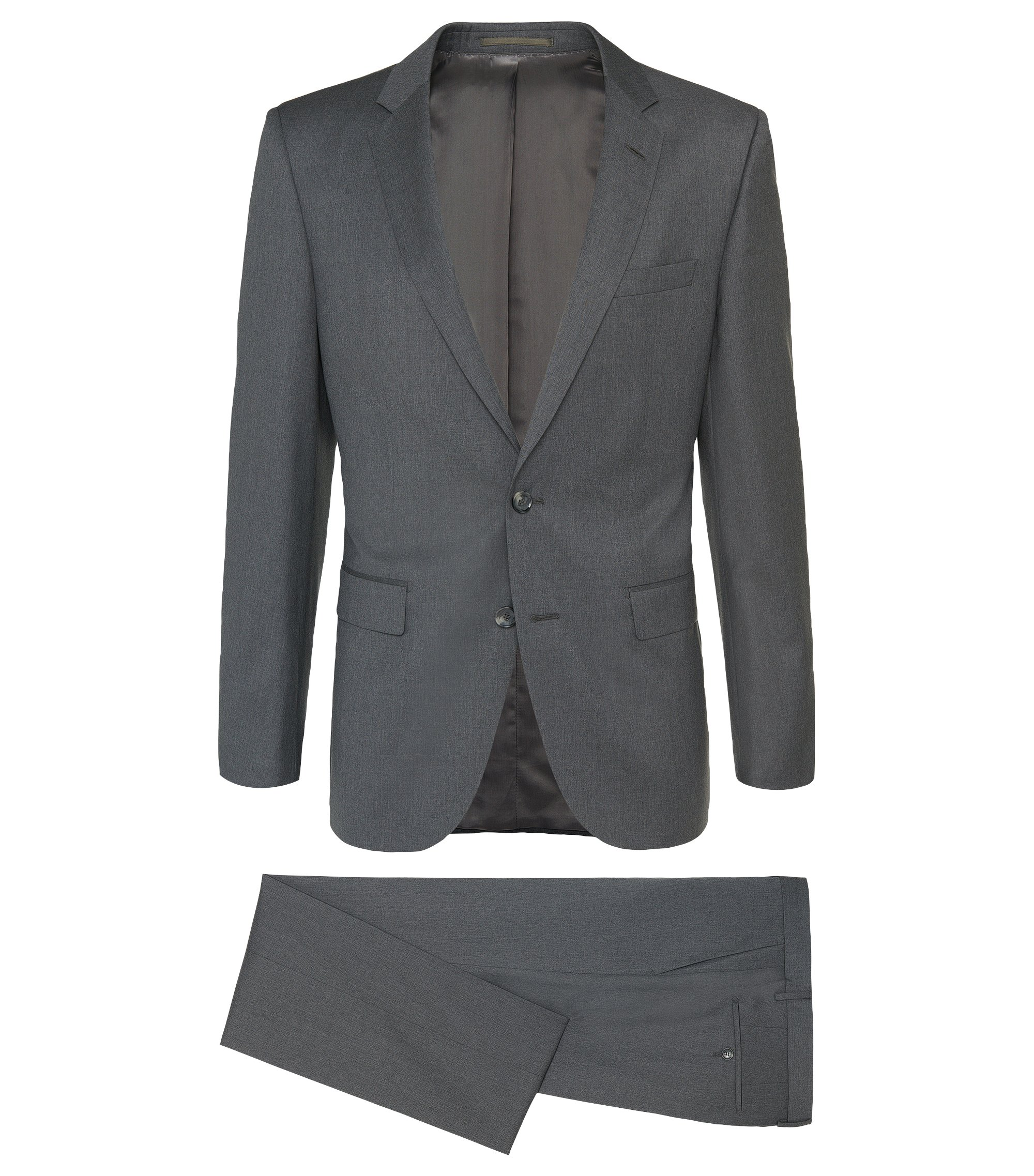 Costume Slim Fit Tailored en laine vierge chinée : « T-Harvers2/Glover1 », Gris