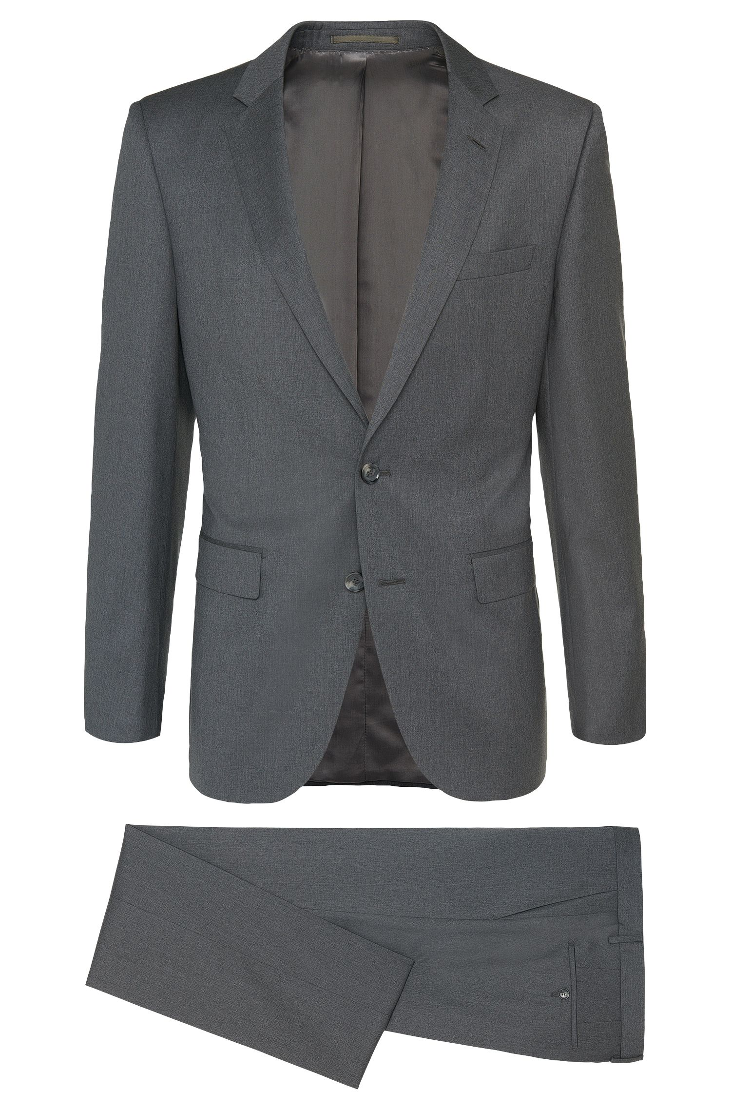 Gemêleerd slim-fit kostuum van scheerwol uit de Tailored-collectie: 'T-Harvers2/Glover1'