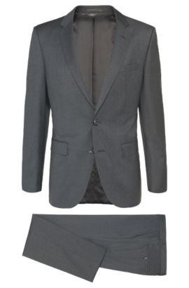 Melierter Slim-Fit Tailored Anzug aus Schurwolle: 'T-Harvers2/Glover1', Grau