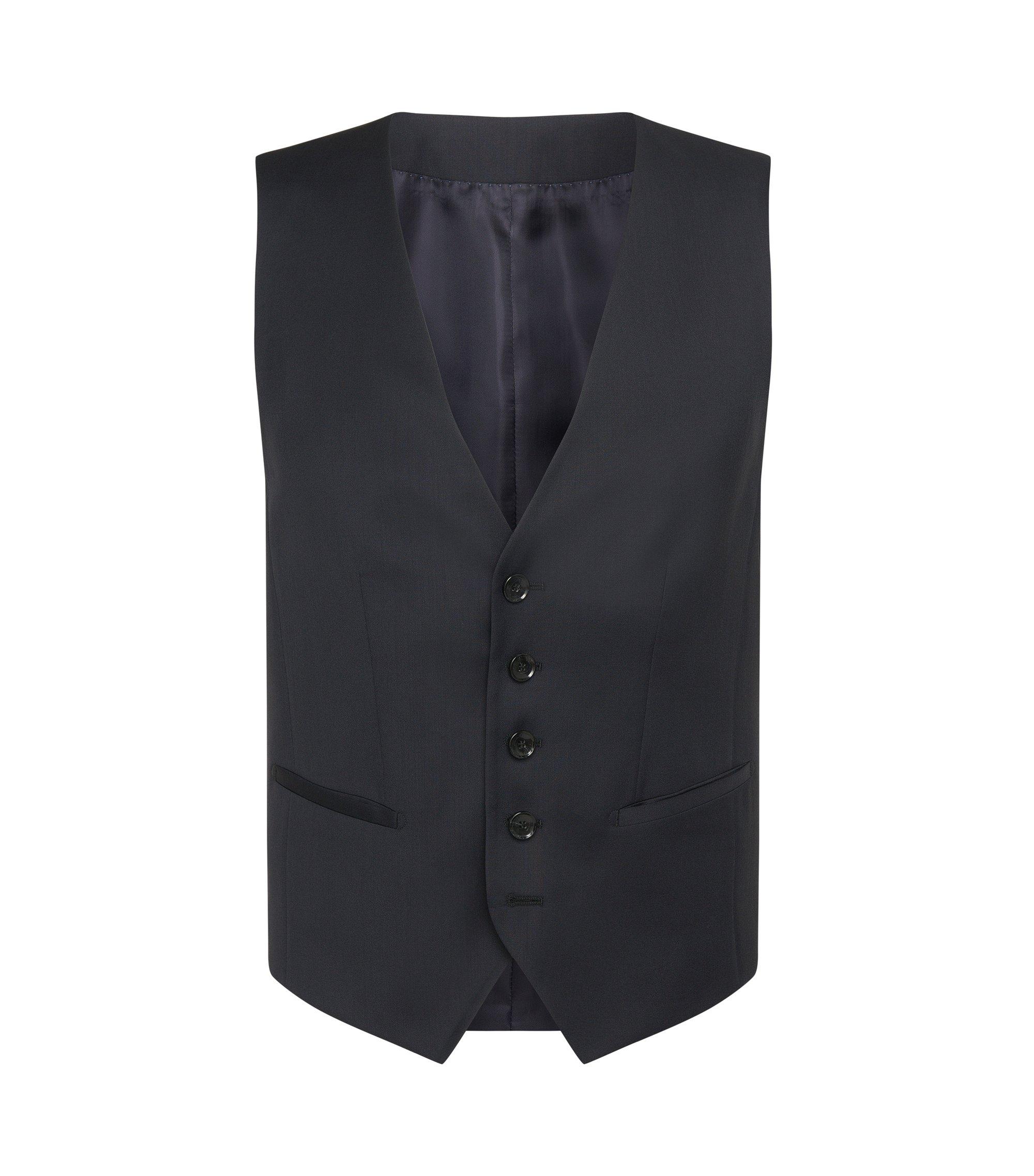 Slim-Fit Tailored Weste aus Schurwolle: 'T-Harvers2 WE2', Dunkelblau