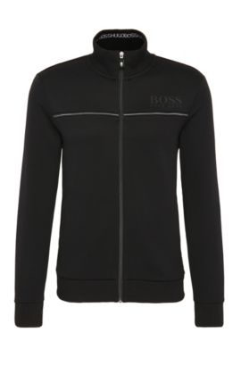 Blouson sweat Regular Fit en coton mélangé : « Skaz », Noir