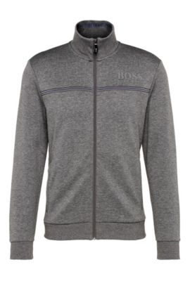 Blouson sweat Regular Fit en coton mélangé : « Skaz », Gris
