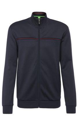 Regular-fit sweatshirt jacket in a cotton blend: 'Skaz', Dark Blue