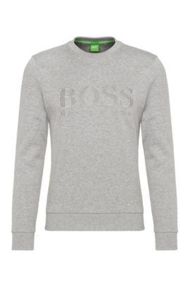 Sweat Slim Fit en coton mélangé : « Salbo », Gris chiné