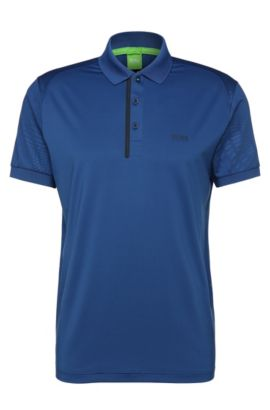 Slim-fit polo shirt in stretch fabric blend: 'Pavotech', Open Blue