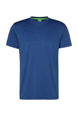Slim-fit print tee in fabric blend: 'Tianotech', Open Blue