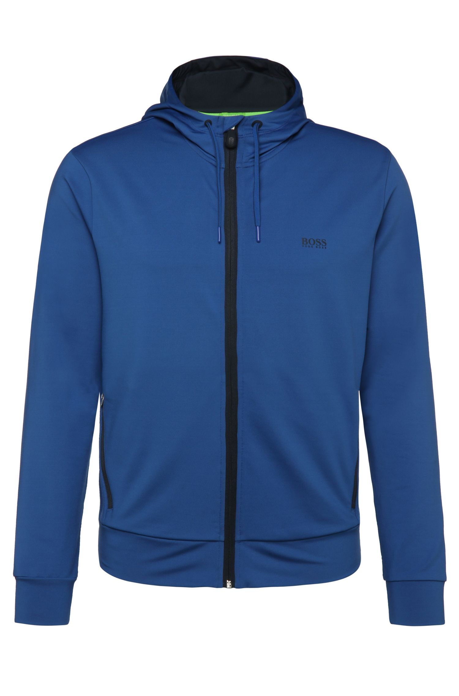 Regular-fit sweatshirt jacket in stretch fabric blend: 'Saggytech'