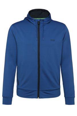 Regular-fit sweatshirt jacket in stretch fabric blend: 'Saggytech', Open Blue